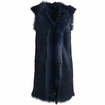 Hooded Long Suede Toscana Gilet Ombre Blue : Mariana