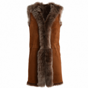 Hooded Long Suede Toscana Gilet Whisky: Mariana