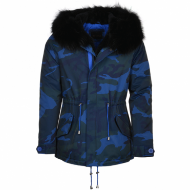 Hooded Raccoon Fur Camouflage Parka Blue/blk: Nemesis