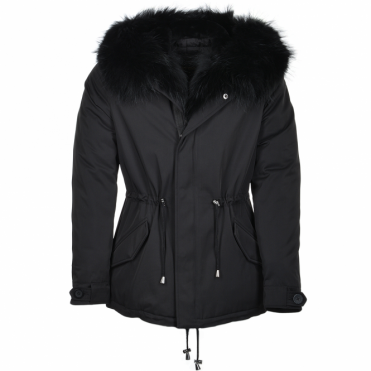 Hooded Raccoon Fur Parka Black: Nemesis