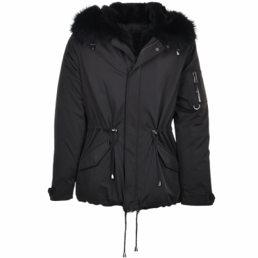 Hooded Raccoon Fur Parka With Removable Fur Trim Lining Black/blk : Roman