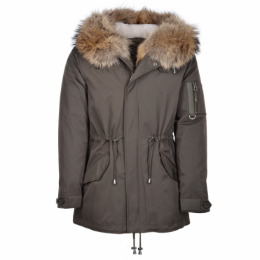 Hooded  Racoon Tipped Fur Parka With Removable Fur Trim Lining : Cronos
