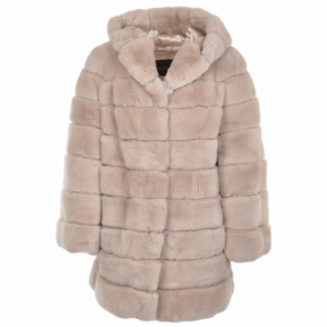 Hooded Rex Rabbit Fur Coat Beige : Pandora