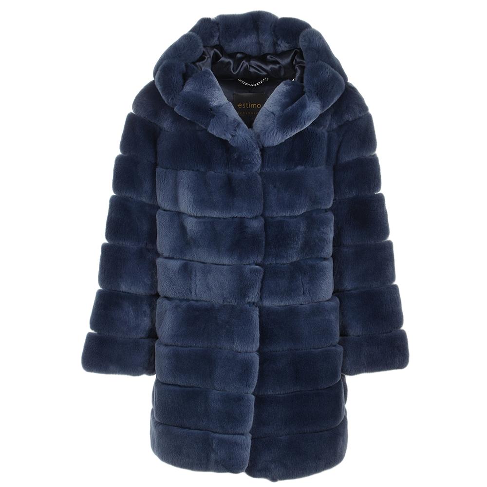 Hooded Rex Rabbit Fur Coat Blue   Pandora b8da18e543a4b