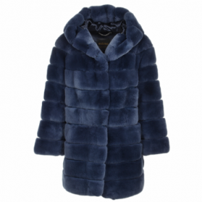 Hooded Rex Rabbit Fur Coat Blue : Pandora