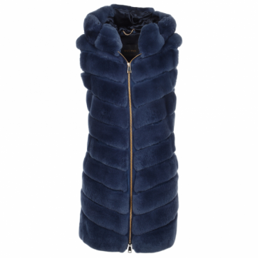 Hooded Rex Rabbit Fur Gilet Blue: Sabrina