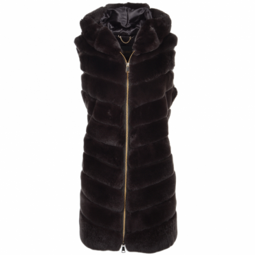 Hooded Rex Rabbit Fur Gilet Brown: Sabrina