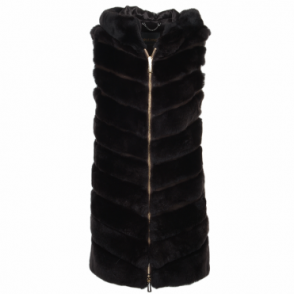 Hooded Rex Rabbit Fur Gilet Dark Brown : Sabrina