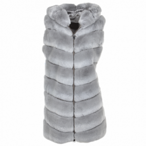 Hooded Rex Rabbit Fur Gilet Grey : Sabrina