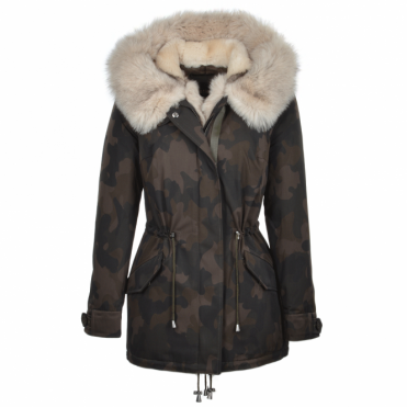 Hooded Toscana Tipped Fox Fur Camouflage Parka Khaki/beige : Hera
