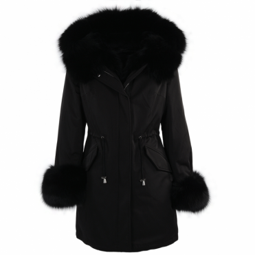 Hooded Toscana Tipped Fur Parka With Detachable Fur Trim Lining Back/blk : Kaylee