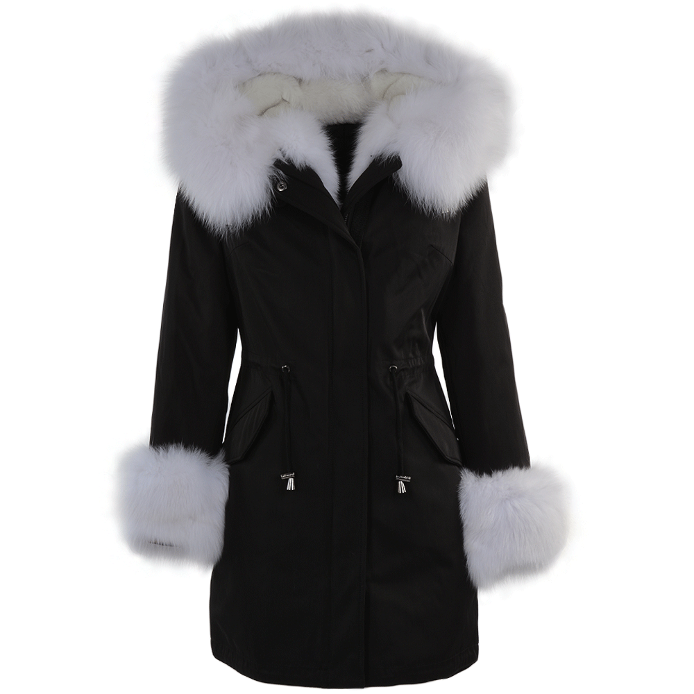 Toscana Tipped Fur Parka With Detachable Fur Trim Lining Black ...