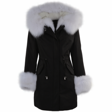 Hooded Toscana Tipped Fur Parka With Detachable Fur Trim Lining Black/white : Kaylee