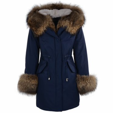 Hooded Toscana Tipped Fur Parka With Detachable Fur Trim Lining Blue/brown : Kaylee