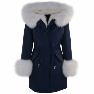 Hooded Toscana Tipped Fur Parka With Detachable Fur Trim Lining Blue/white : Kaylee