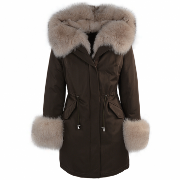 Hooded Toscana Tipped Fur Parka With Detachable Fur Trim Lining Khaki/ beige : Kaylee