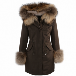 Hooded Toscana Tipped Fur Parka With Detachable Fur Trim Lining Khaki Green/ brown : Kaylee