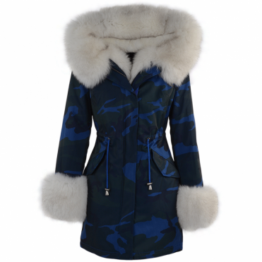 Hooded Toscana Tipped Military Parka With Detachable Fur Trim Lining Blue/white : Kaylee