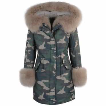 Hooded Toscana Tipped Military Parka With Detachable Fur Trim Lining Khaki/beige : Kaylee