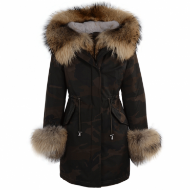 Hooded Toscana Tipped Military Parka With Detachable Fur Trim Lining Khaki Green/ brown : Kaylee