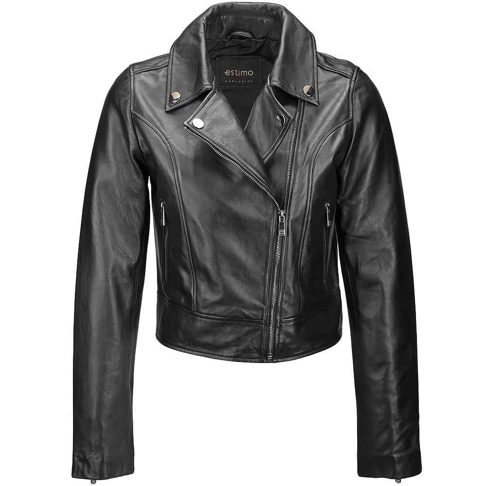 Ladies Short Vegetable Tanned Leather Biker Jacket Black