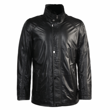 Lambskin Leather And Sheepskin Lined Coat Black : Fernando