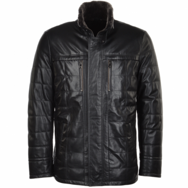 Lambskin Leather and Sheepskin lined Coat Black : Kensington
