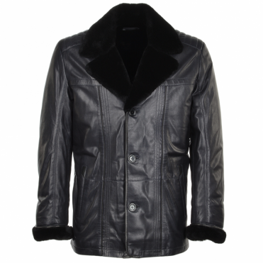 Lambskin Leather And Sheepskin Lined Coat Blue : Montreal