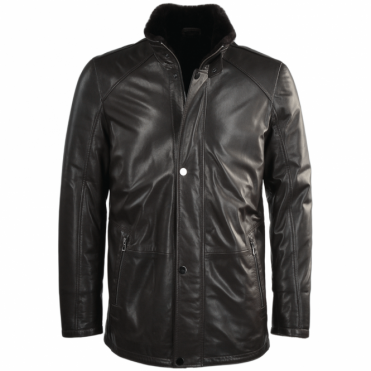 Lambskin Leather and Sheepskin lined Coat Brown : Fernando