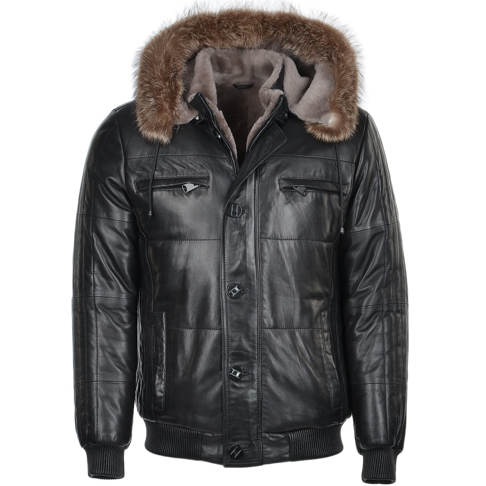 Mens Lambskin Leather And Sheepskin Lined Hooded Jacket