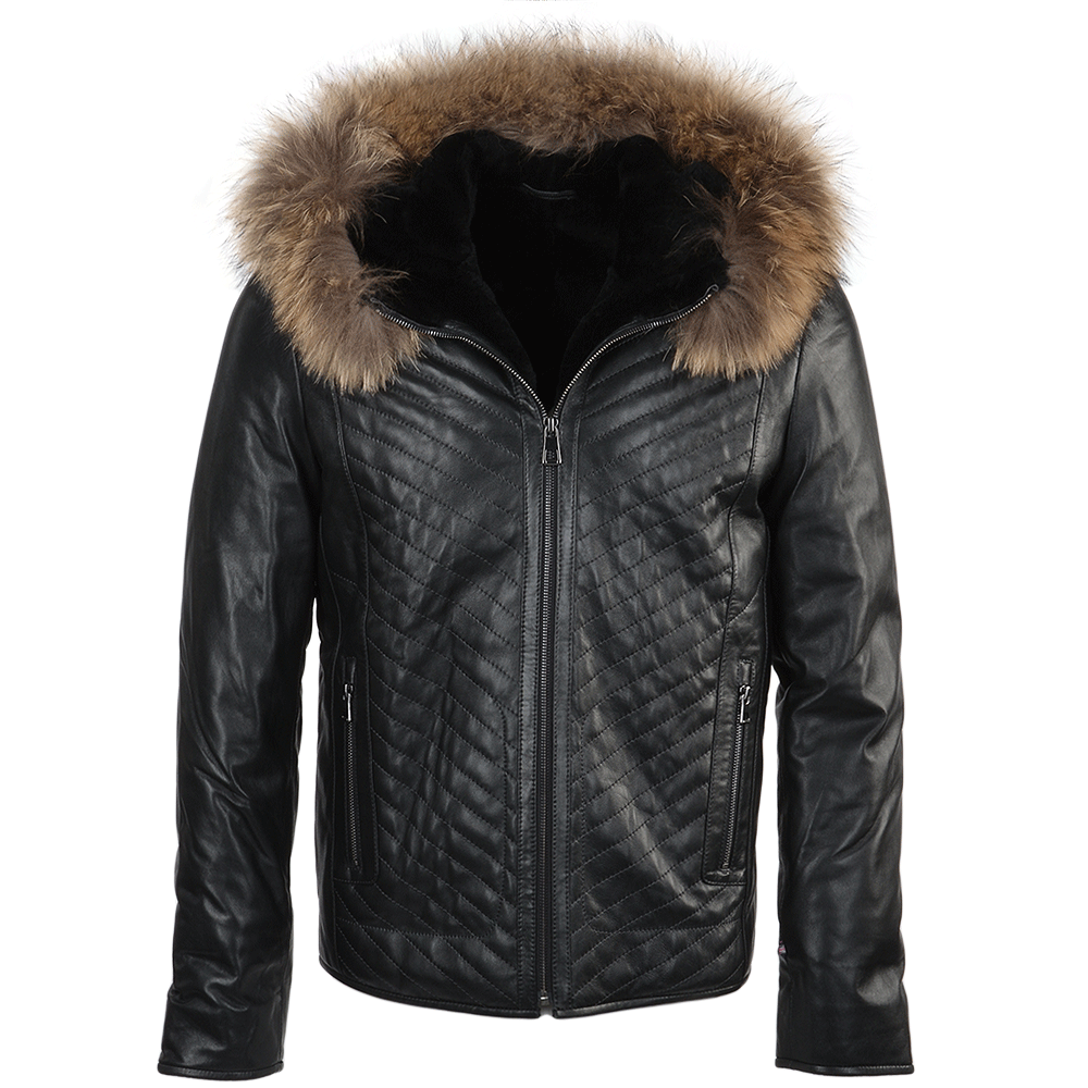 Mens Lambskin Leather And Sheepskin Lined Jacket Dark