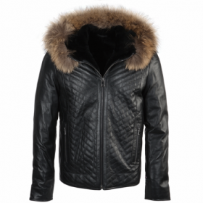 Lambskin Leather And Sheepskin Lined Jacket Dark Green : Thiago