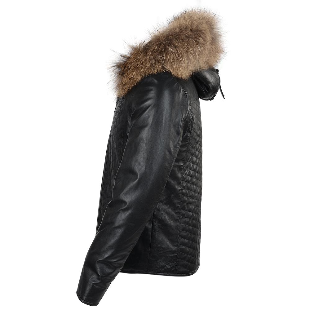 Mens Lambskin Leather And Sheepskin Lined Jacket Dark Green : Thiago
