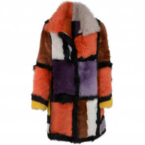 Estimo Luxury Patchwork Art Reversible Sheepskin Coat Multi : Monet