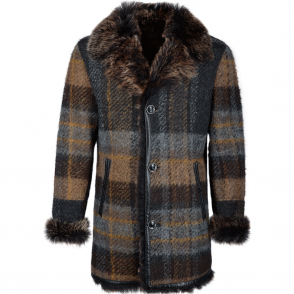 Estimo Men's Sheepskin And Wool Single Breasted Coat Multi : Nova Scotia