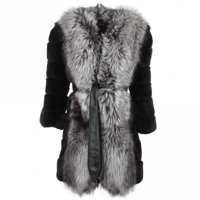 Estimo Raccoon And Rex Rabbit Cropped Sleeve Coat Black : Kaitlin