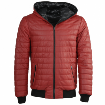 Reversible Padded Leather Jacket Red : Minas