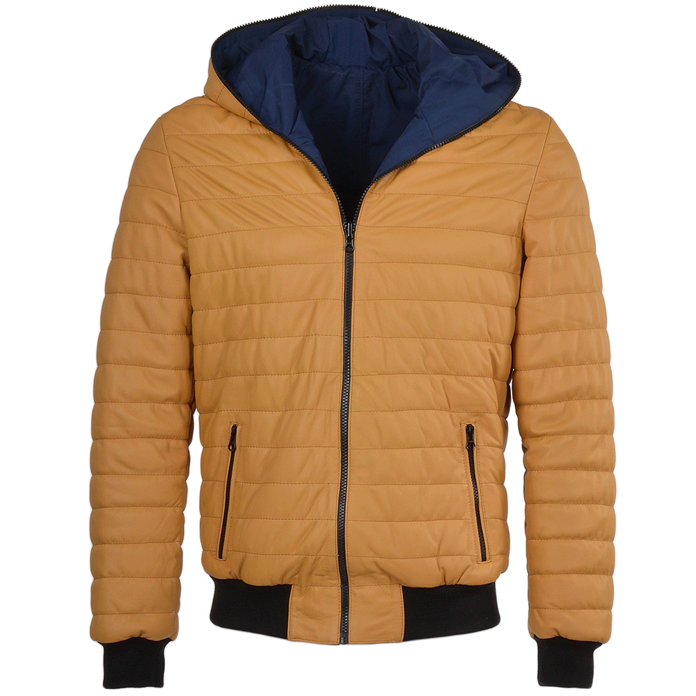 Mens Reversible Padded Leather Jacket Yellow