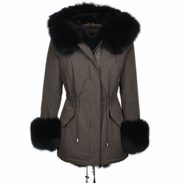 Short Hooded Toscana Fox Tipped Fur Parka With Fur Trim Lining Khaki/blk :