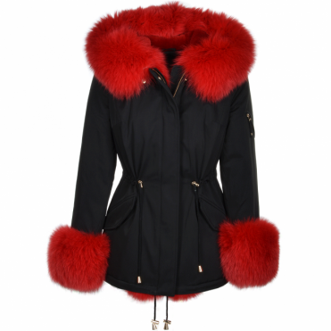 Short Hooded Toscana Tipped Fox Fur Parka With Fur Trim Lining Black/red: