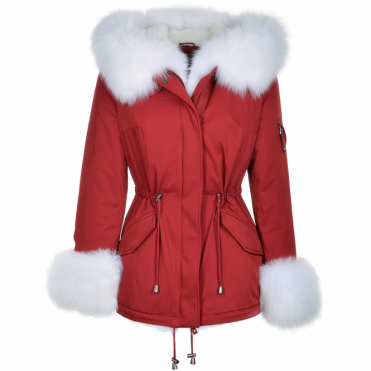 Short Hooded Toscana Tipped Fox Fur Parka With Fur Trim Lining Red/white: