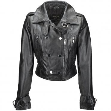 Short Vegetable Tanned Leather Biker Jacket Black : Sabine