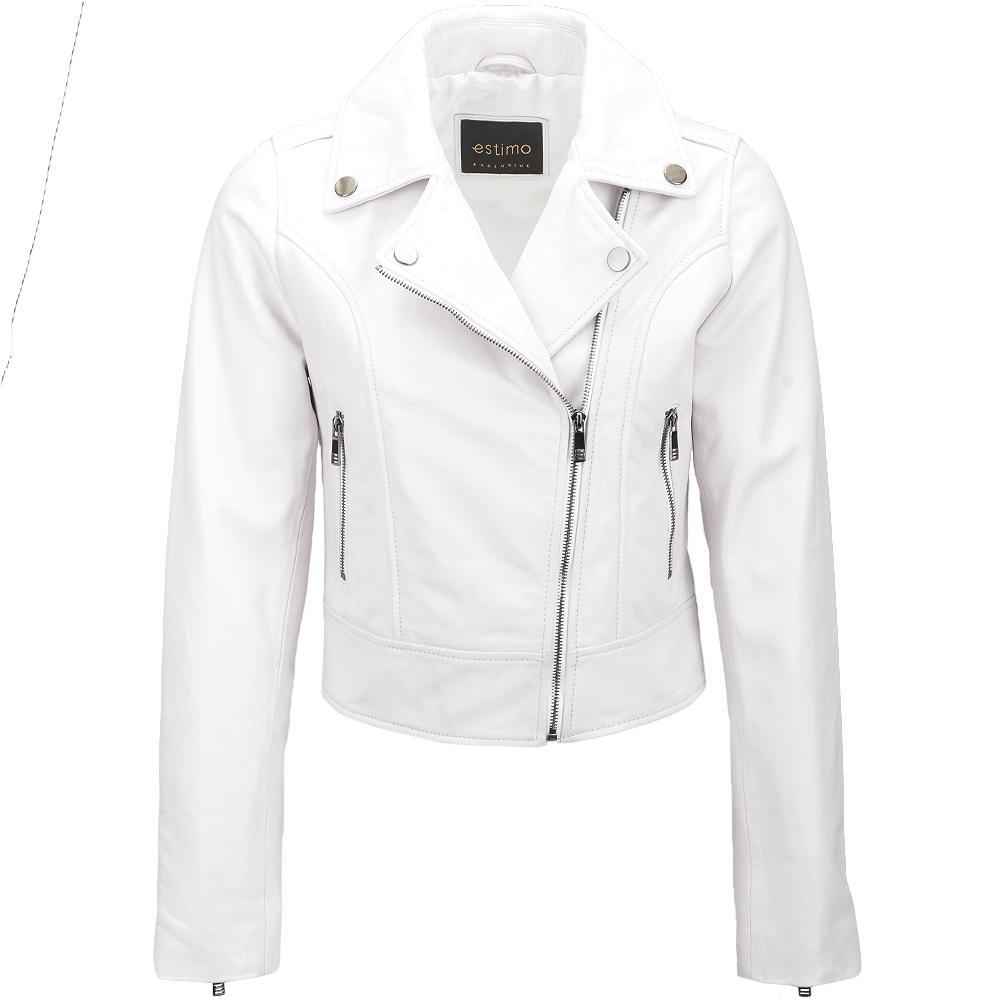99608d591 Short Vegetable Tanned Leather Biker Jacket White : Jenner