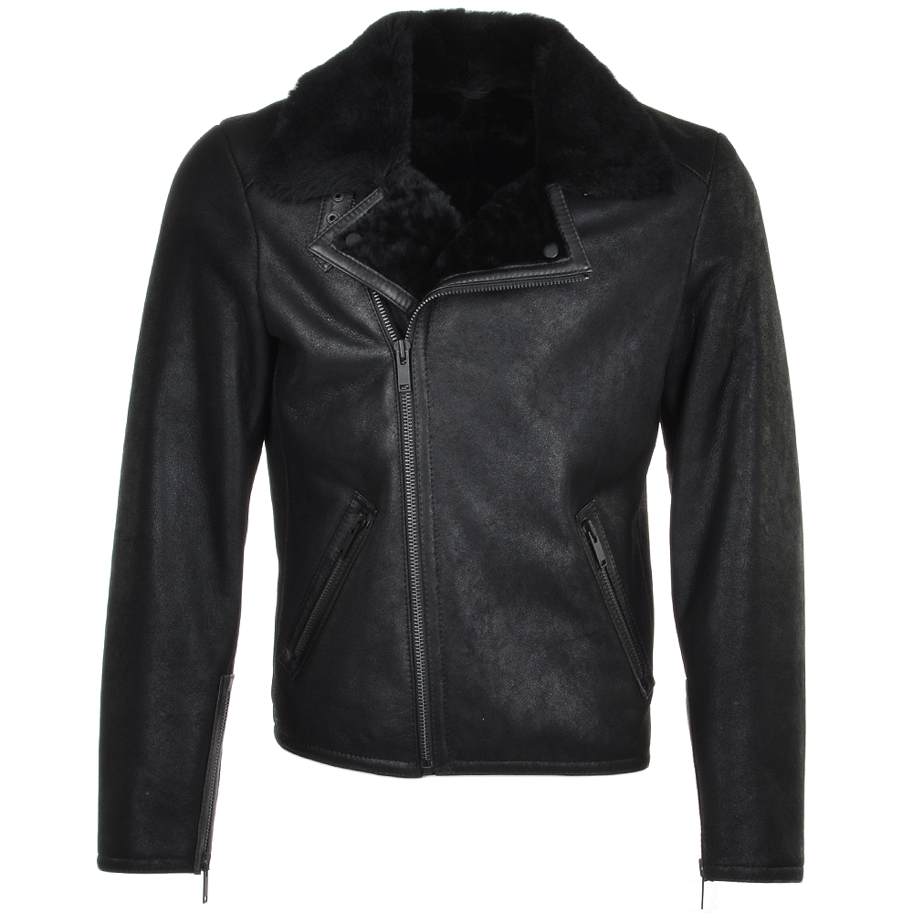 Mens Side Zip Biker Sheepskin Pilot Jacket Black Franco