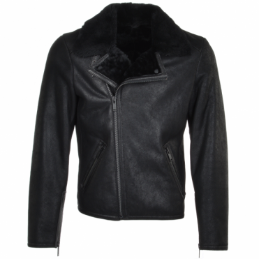 Side Zip Biker Sheepskin Pilot Jacket Black : Franco