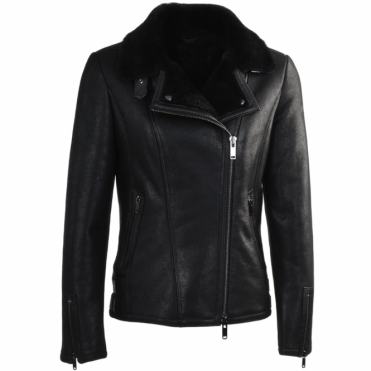 Side Zip Biker Sheepskin Pilot Jacket Black : Micaela