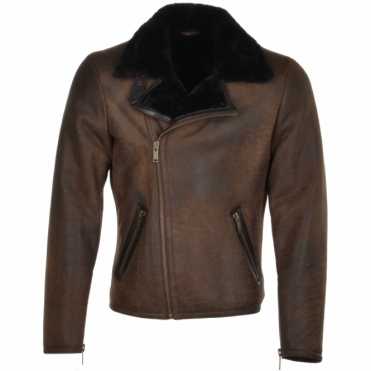 Side Zip Biker Sheepskin Pilot Jacket Taba Crack/blk : Franco