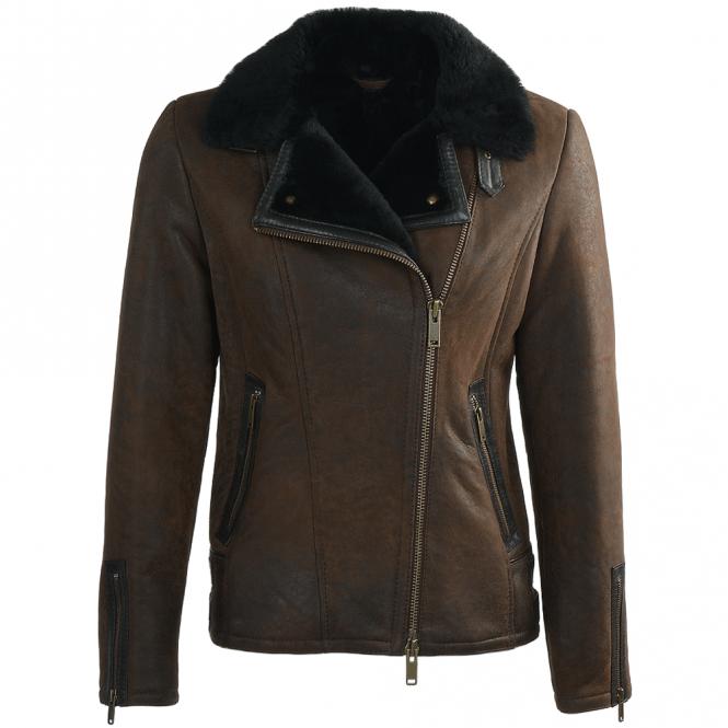 Womens Side Zip Biker Sheepskin Pilot Jacket Taba Crack