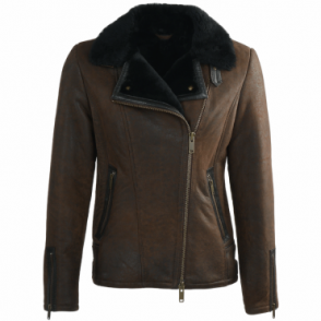 Side Zip Biker Sheepskin Pilot Jacket Taba Crack/blk : Micaela