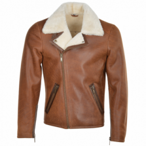 Estimo Side Zip Biker Sheepskin Pilot Jacket Tan: Franco